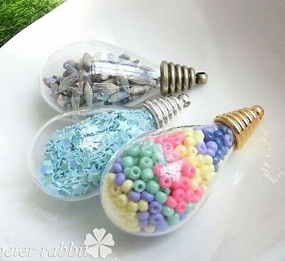 Mini Glass Bottle Teardrop Container For Jewelry Making Necklace Pendant 2pcs