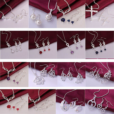 Valentine's Day  Ladies Solid 925Silver Fashion Jewelry Set Earrings+Necklace
