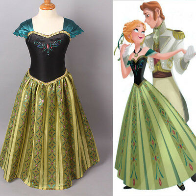 Girl Frozen Dress Disney Princess Queen Anna Party Birthday Costume size 1-14Yrs