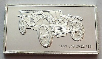 Classic Cars Lanchester 1903 Silver Proof Ingot Made from Franklin Mint !