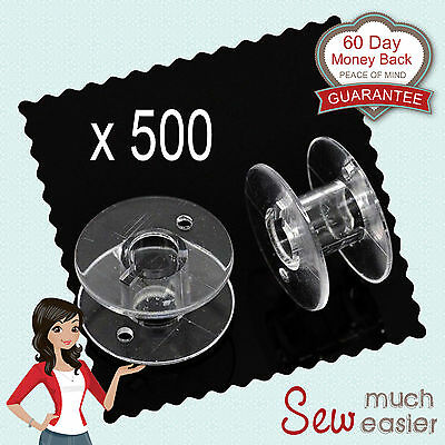 500 Empty Plastic Bobbins for Sewing Machines Janome Brother Elna Singer bobbin