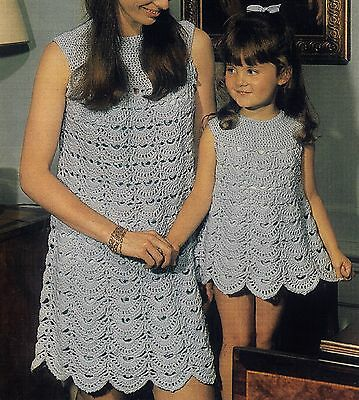 Crochet Pattern To Make Ladies & Girls Double Knit Vintage Dress