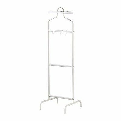 MULIG Valet Coat Stand Hanger Hooks Clothes Rack Portable White Steel 2 Heights