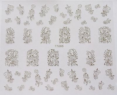 Nail Art 'Silver Lace Swirls Leaf Flowers' Self Adhesive Wrap Sticker Decals 005