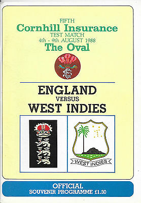 1988 - England v West Indies, 5th Test (The Oval) Match Programme.