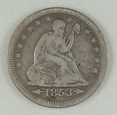 1853-P 25C Seated Liberty Silver Quarter VF Details Old light scratches on obv