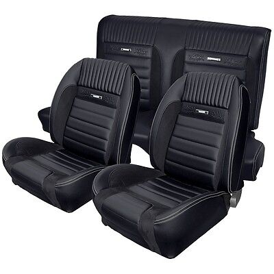 1964-1966 Mustang Deluxe Pony Sport R Seat Upholstery F/R Coupe Black Grey Gray