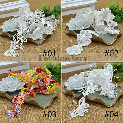 1 Yard Embroidered Applique Lace Sewing Trim Flower Butterfly Craft DIY New