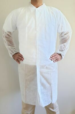 Disposable Medical Clean Laboratory Cover Gown Non Woven Pkt of 50 Pcs, SMALL