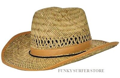e4ebff9bc8d00 Mens Womens Straw Cowboy Hat Country Western Stetson Wide Brim Summer Sun  Hats