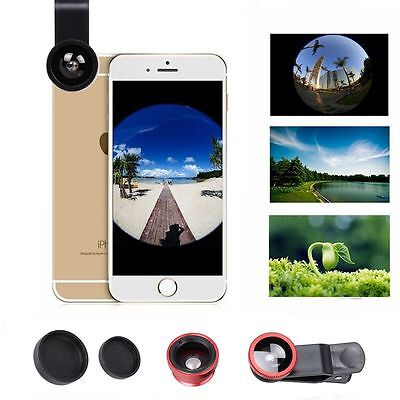 3in1 Fish Eye+Wide Angle+Micro Lens Camera Kit for iPhone 7/Plus Samsung S8 Plus