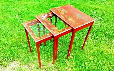 Antique Victorian,  Nesting / Stacking tables, Hand Painted and Glass , Nice!!!