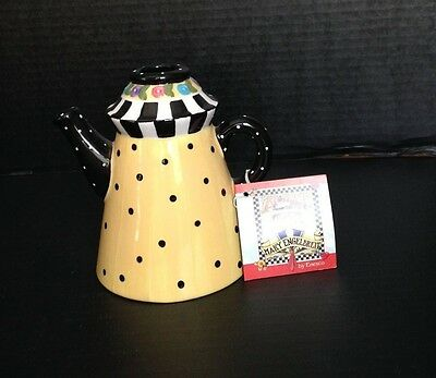 MARY ENGELBREIT 1998 YELLOW WITH BLACK DOTS TEA POT CANDLE HOLDER MINT CONDITION