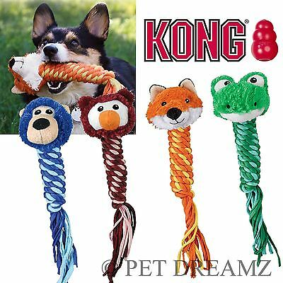 Kong Winders Dog Puppy Braided Squeaky Soft Toss Fetch Dental Tug Toy – 4 Styles