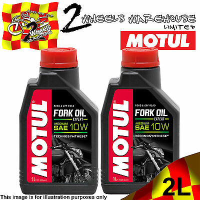 2x 1L 2 LITRES LTRS MOTUL MOTORCYCLE FORK OIL EXPERT MEDIUM 10W RACE TRACK DAY