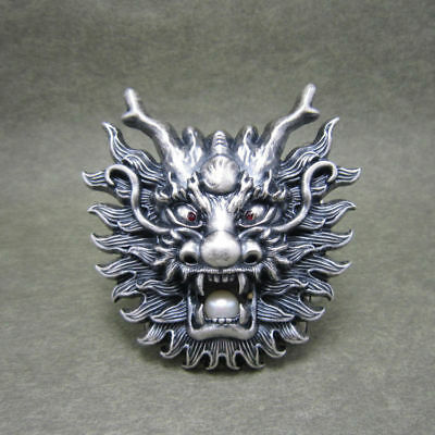 Silver Plated Asian Chinese Dragon Head Metal Belt Buckle