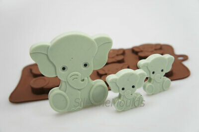 4+1 Elephant Animal Favour Chocolate Candy Bar Silicone Mould Lolly Lollipop
