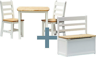 Table and chairs with chestbench - ILEX - Wooden Set Kids Children Play Toybox
