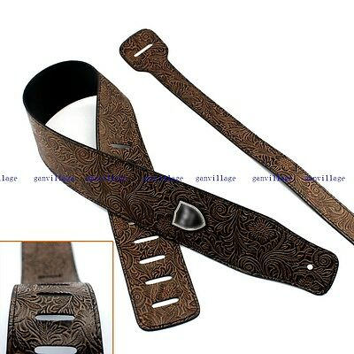 Leather Embossed Guitar Strap Acoustic Electric Bass Adjustable Fashion Style