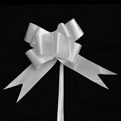 30mm 10 White Pull Bow Ribbons Wedding Floristry Car Gift Decorations