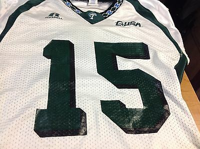 TULANE UNIVERSITY GAME Used Football Jersey White Size L  15 ... adb77f8dd