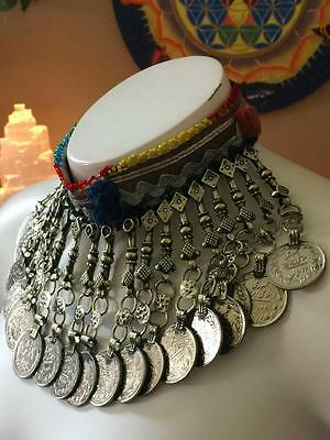 Authentic Tribal ATS Belly Dance Gypsy Vintage Kuchi Pendant Antique Choker K-1