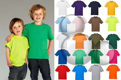 Kids Plain T-Shirt 100% Cotton Size 2 4 6 8 10 12 14 16 Tee Top New!