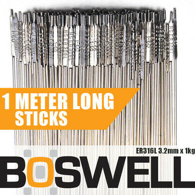 Boswell - 3.2mm x 1KG Stainless Steel ER316L TIG FILLER RODS Welding Welder Rod
