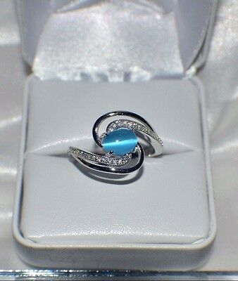 """2.20ct NATURAL OPAL """" CATS EYE""""  GENUINE TOPAZ STERLING  SILVER COCKTAIL RING"""
