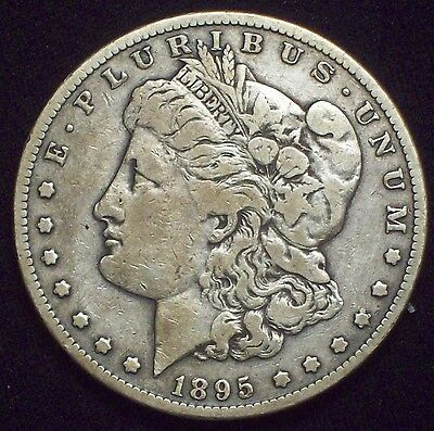 1895 S Morgan Dollar SILVER KEY DATE COIN Authentic F+/VF Detailing US Coin
