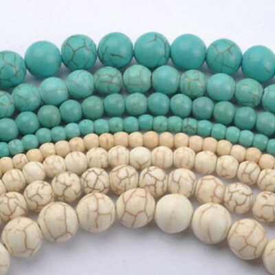 20-100Pcs Howlite White/Blue Turquoise Gemstone Round Loose Spacer Beads 4-10mm