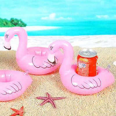 Baby Toy Mini Cute Flamingo Floating Inflatable Drink Can Holder Pool Bath Toy