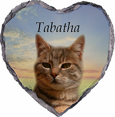 Pet Cat Photo Memorial Slate - Heart - Plaque - Personalised YOUR Picture & Text