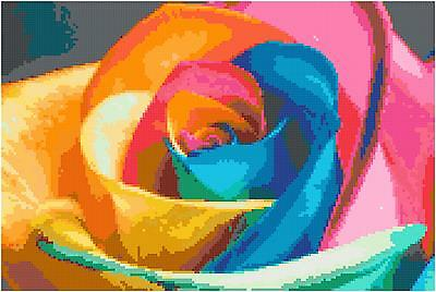 Cross Stitch Chart Pattern Rainbow Rose Needlework Picture Design Craft