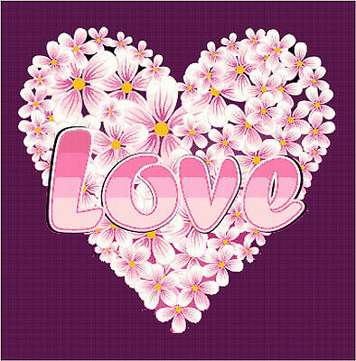 Cross Stitch Chart Pattern Love Heart Flowers Needlework Picture Design Craft