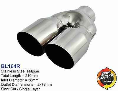 """Exhaust tips s/steel tailpipes trims dual 3"""" / 76mm for BMW VW Peugeot BL164R"""