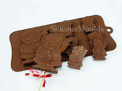 4+1 Waving Santa Xmas Father Christmas Silicone Chocolate Candy Bar Mould Lolly
