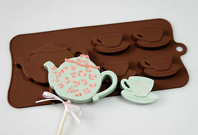 4+1 Teapot Teacups Tea Pot Cups Silicone Baking Chocolate Candy Bar Mould Lolly