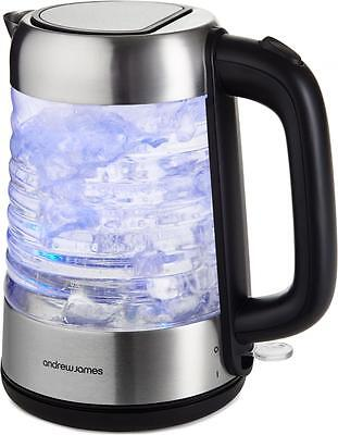Andrew James Illuminated Glass Kettle Electric Fast Boil Cordless Jug 3000W 1.7L