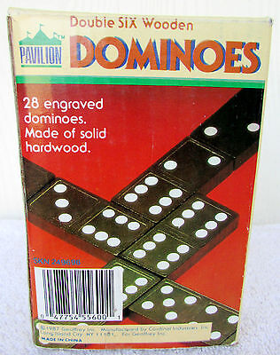 Vintage Engraved Double Six Wooden Dominoes Black Cardinal Set of 28