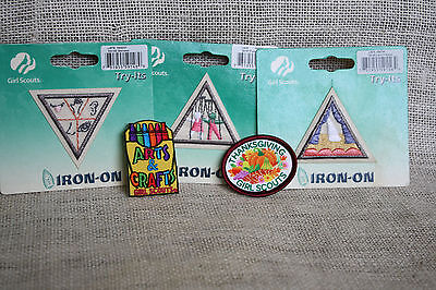 Lot (5) New Girl Scouts Try-Its Thanksgiving Arts & Crafts Senses  Patches Badge