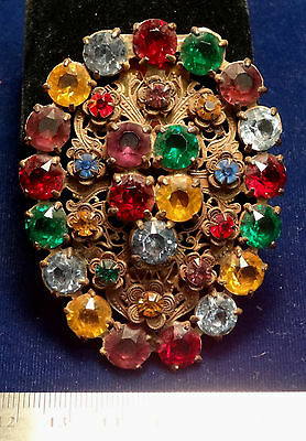 Victorian Era Ladies Brooch  w/ Large Cut Glass Stones Attractive and Scarce