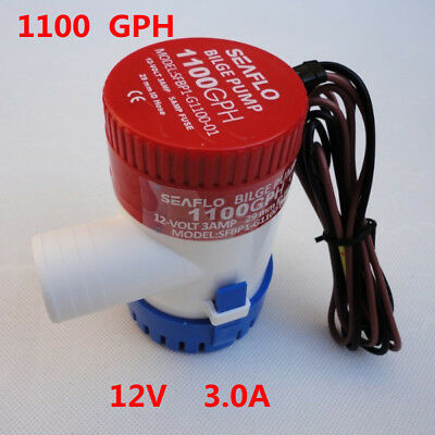 Great 12V Submersible 1100 GPH Marine Boat Bilge Pump With Float Switch