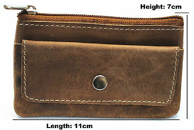 Quality Full Grain Cow Hide Hunter Leather Coin Purse. Brown. Style No: 12057.