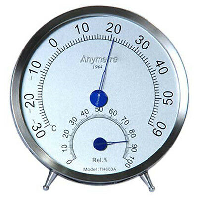 Stainless Steel Case Thermometer Hygrometer Indoor Weather Meter with brace