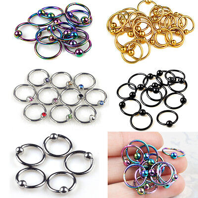 10PCS Steel Captive Ring BCR Body Tragus Nose Lips Bar CBR Piercings Decoration