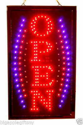 "Large VERTICAL Animated LED OPEN Sign w. Motion ON/OFF Switch 21"" X 13"" #026"