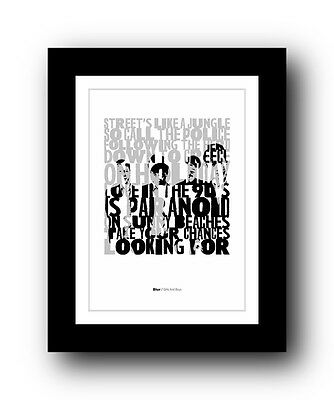 BLUR Girls And Boys  ❤  song lyrics typography poster art print