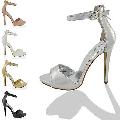 Womens High Heel Strappy Sandals Ladies Platform Ankle Cuff Peep Toe Shoes 3-8
