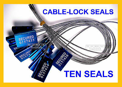 Cable-Lock Security Seals, Cargo / Tanker, Dark-Blue, All-Metal, Ten Seals